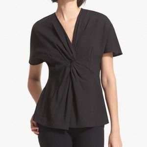 NWT MM Lafleur Paddi Top Stretch Linen Black Med
